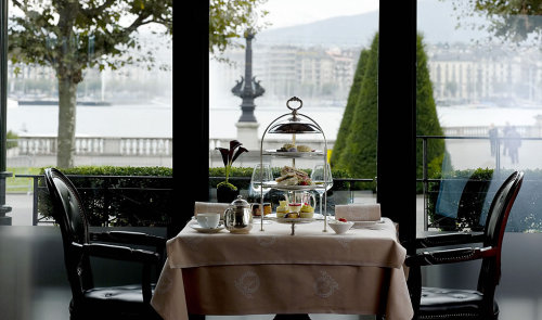 Hotel d'Angleterre, a hotel with a remarkable view on Lake Geneva, Switzerland