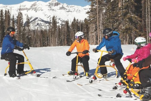 Telluride snowbiking group. Photo courtesy Telluride Ski & Golf.