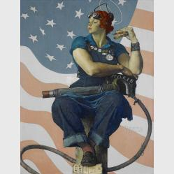 Rosie the Riveter by  Norman Rockwell, 1894 - 1978. Courtesy Crystal Brides Museum of American Art.