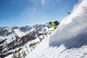 A skier on a powder run thanks to Wasatch Powderbird Guides.