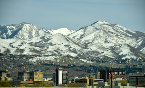 The Wasatch Mountains overlook Salt Lake City.