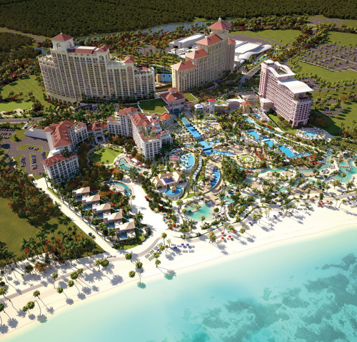 With five full-blown hotels, spas, a huge casino, 40 restaurants and bars, shopping, golf, tennis and lots of water, Baha Mar is the biggest resort opening in the world this year (rendering).