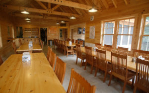Dining area at AMC's Gorman Chairback Lodge & Cabins, Maine