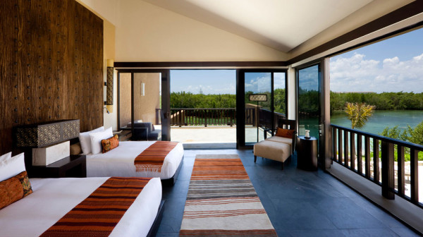 A guest room at Banyan Tree Mayakoba