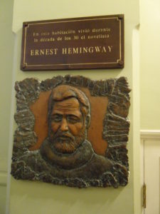 Plaque honoring Hemingway at Hotel Ambos Mundos where he wrote For Whom the Bell Tolls.