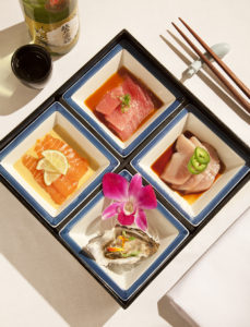 Gastronomic geometry of  ANZU's Sashimi Bento Box PHOTO Matthew Millman