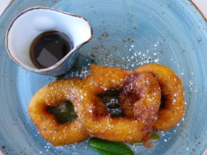 Picarones, traditional pumpkin and sweet-potato donuts, at La Mar Cebicheria Peruana PHOTO Monique Burns