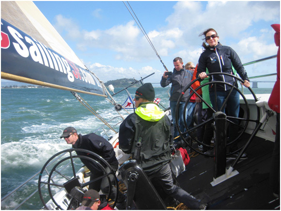 Sailing San Francisco Bay aboard USA 76, a former America's Cup challenger