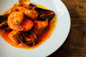 Bizkaiko, a traditional Basque seafood-and-shellfish stew with a peppery sauce