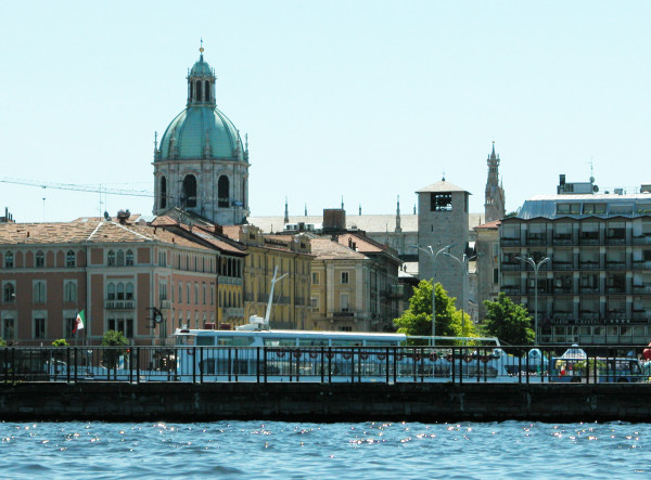 The city of Como, on the shores of Lake Como