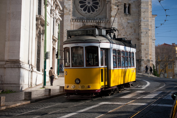 Lisbon tram next to Lisbon Cathedral