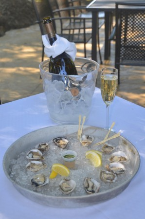 Sparkling wine and kusshi oysters at Domaine Chandon.  PHOTO Karen Preuss