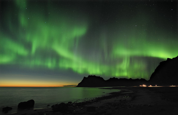 Northern Lights high above the Lofoten Islands PHOTO Bjørn Jorgensen  Courtesy of Visit Norway