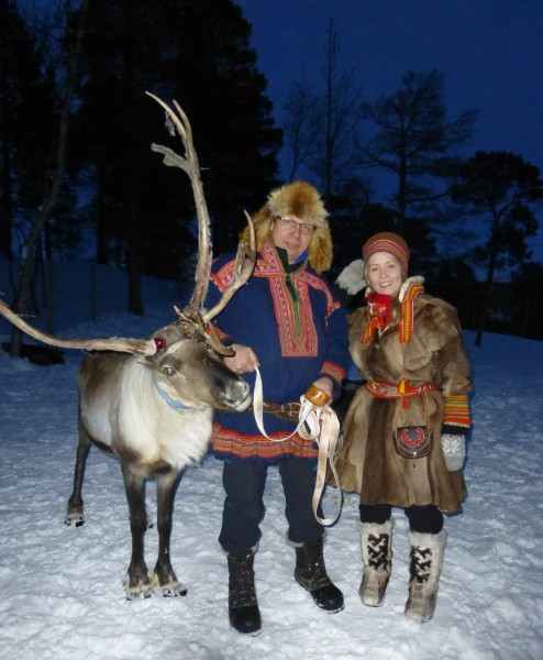 The Oskals, a Sami father and daughter, at their family farm, Saltfjellet Reinprodukter PHOTO Monique Burns