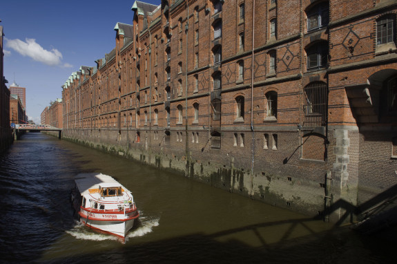 the canals of the Speicherstadt in Hamburg, the world's largest and oldest warehouse complex