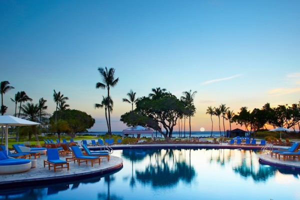 Mauna Lani Bay pool at twilight