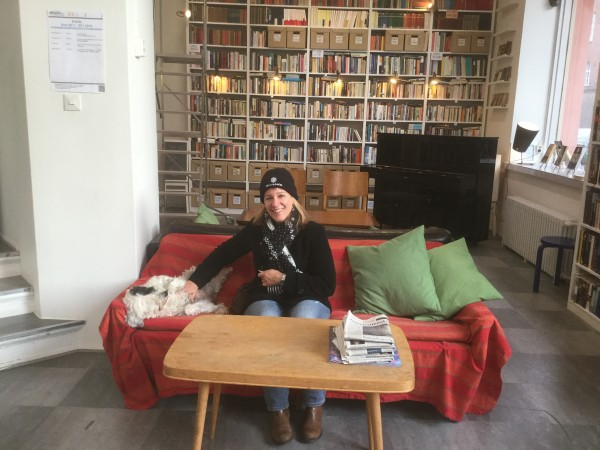 Dena Timm taking a break at Arkadia Bookshop, Helsinki. Photo Richard West
