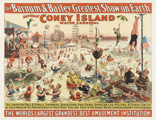 Strobridge Lithographing Company. The Barnum & Bailey Greatest Show on Earth /The Great Coney Island Water Carnival /Remarkable Head-Foremost Dives from Enormous Heights into Shallow Depths of Water, 1898. Color lithograph poster, 30 1/6 x 38 3/4 in. (76.6 x 98.4 cm). Cincinnati Art Museum; Gift of the Strobridge Lithographing Company, 1965.829