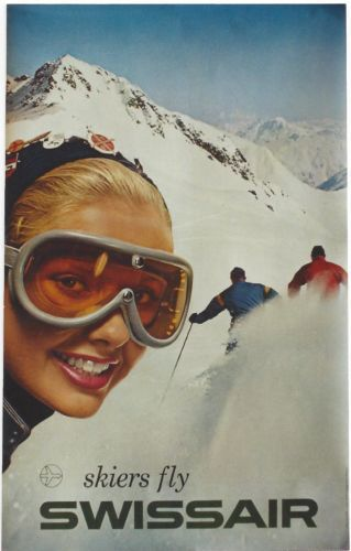 """Skiers Fly Swissair."" Anonymous, 1959. Courtesy Russell Johnson."