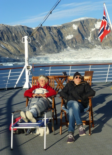 Soaking up Arctic rays on the Fram's rear deck. Photo Monique Burns