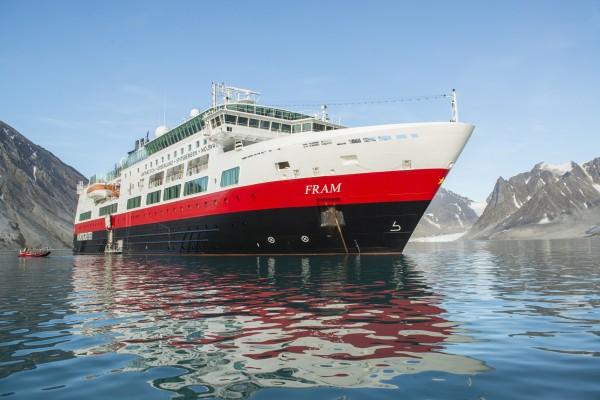 MS Fram anchored in Magdalenafjord, Norway. Courtesy Hurtigruten.