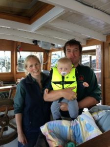Kate, Zander and first mate on the Guildive, Castine, Maine