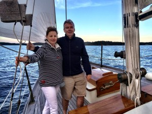 The author and his wife sailing on the Guildive off the coast of Castine, Maine
