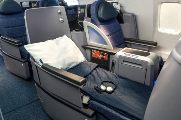 Flying within the U.S. you simply cannot do any better than true lay flat beds with duvets, pillows and noise reducing headphones, and that's exactly what you get on every p.s. flight.