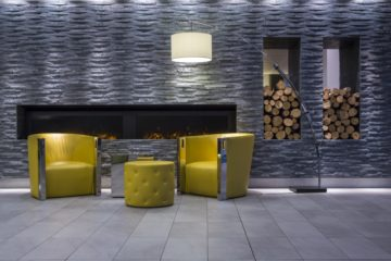 A fireplace in the lobby added a cozy touch.