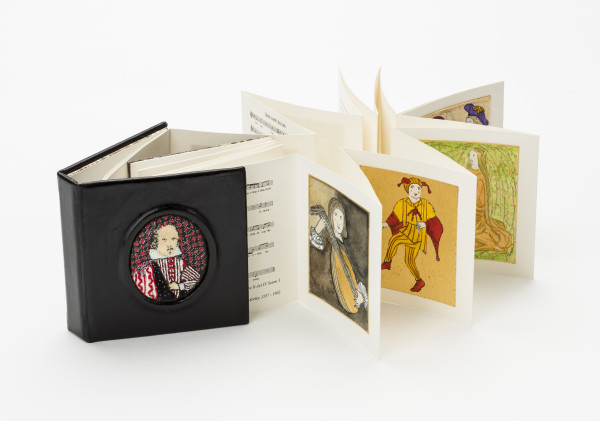 Shakespeare to Music (Huddersfield, West Yorkshire: Final Score, 2011), printed and bound by Stephen Byrne, in black leather with inset embroidered panel by Marian Byrne, illustrated by Marian Byrne, Collection of Neale and Margaret Albert