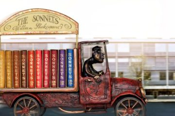 Jan and Jarmila Jelena Sobota and Dalibor Nesnídal, Sonnets in Shakespeare's Mobile Library, 2015, Set of Shakespeare's Sonnets (Loket, Czech Republic: Jan and Jarmila Sobota, 2002) bound in different colors of goatskin by Jan and Jarmila Jelena Sobota, tooling in gold and blind on spine and front and back covers, sculpture by Dalibor Nesnídal housing the books constructed from epoxy putty modeling clay and painted with acrylics, Collection of Neale and Margaret Albert