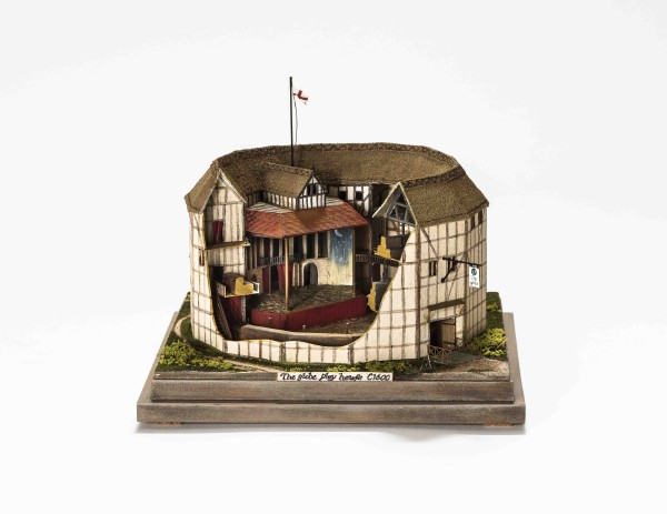 Paul Wells, Globe Theatre model, 2010, mixed media, including lime and pear woods, board, brass, and hemp, with acrylic paint and dry-powder pigment, Collection of Neale and Margaret Albert