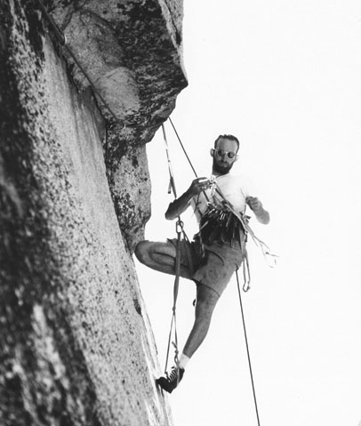 Royal Robbins, climbing in the Billy Goat Shorts he designed.