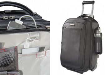 Phone charger and water bottle holder in the ecbc Sparrow Wheeled Garment Bag