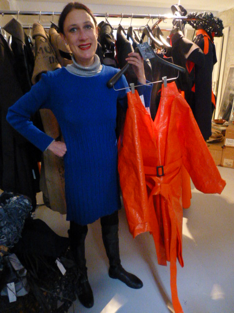 Designer Isabel Vollrath shows off her innovative orange-tarp jacket PHOTO Monique Burns
