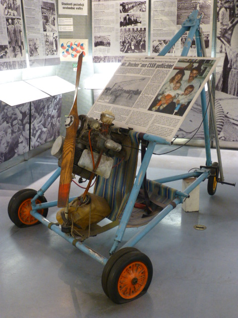 In the Mauermuseum, the hand-made hang glider that sailed over the Berlin Wall in July 1988 PHOTO Monique Burns