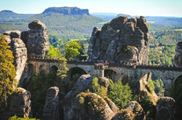 The Bastei Bridge in Germany's Saxon Switzerland national park PHOTO Karol Werner COURTESY Germany National Tourist Board (GNTB)