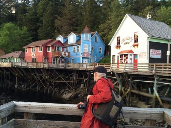 "Creek Street in Ketchikan, where ""both men and salmon came upstream to spawn"" when it was a red-light district."