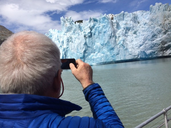 Sawyer Glacier in Tracy Arm fjord calved on cue for the passengers on the Captain Cook.