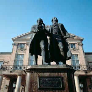 Statue of Goethe and Schiller on Weimar's Theaterplatz. Courtesy Thuringia Tourism.