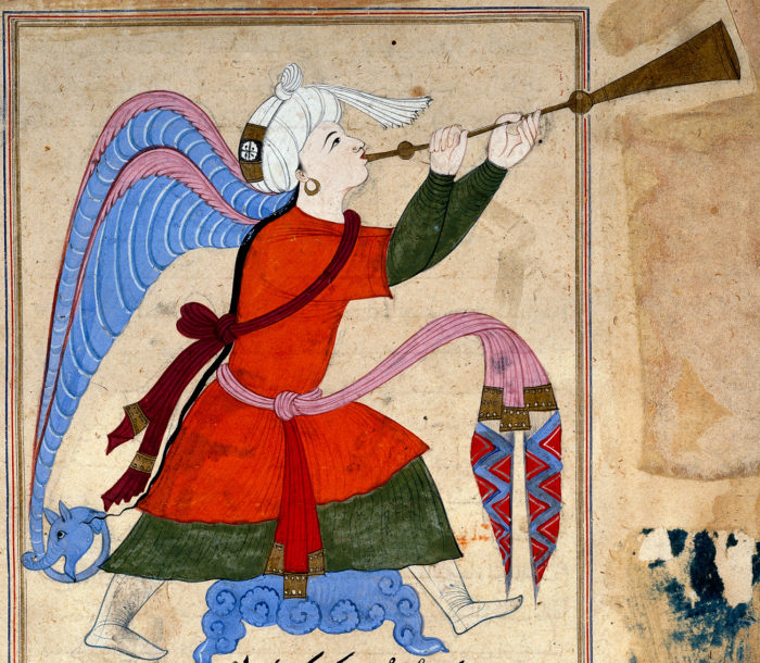 The Archangel Israfil (detail) From The Wonders of Creation and Oddities of Existence ('Aja'ib al-Makhluqat) by al-Qazwini (1202–1283) Egypt or Syria, late 14th – early 15th century. British Museum, London Image: © The Trustees of the British Museum