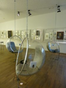 In the Bach House, Plexiglas bubble chairs for listening to his works. Photo Monique Burns.