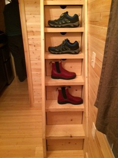 Stairs to the loft doubled as our shoe rack.