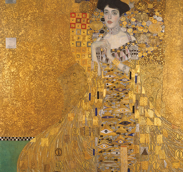 Portrait of Adele Bloch-Bauer I  by Gustav Klimt. 1907 Gold, silver, and oil on canvas Neue Galerie New York.