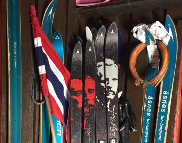 Our skis in the hytte' vestibule, with the Amundsen and Nansen skis